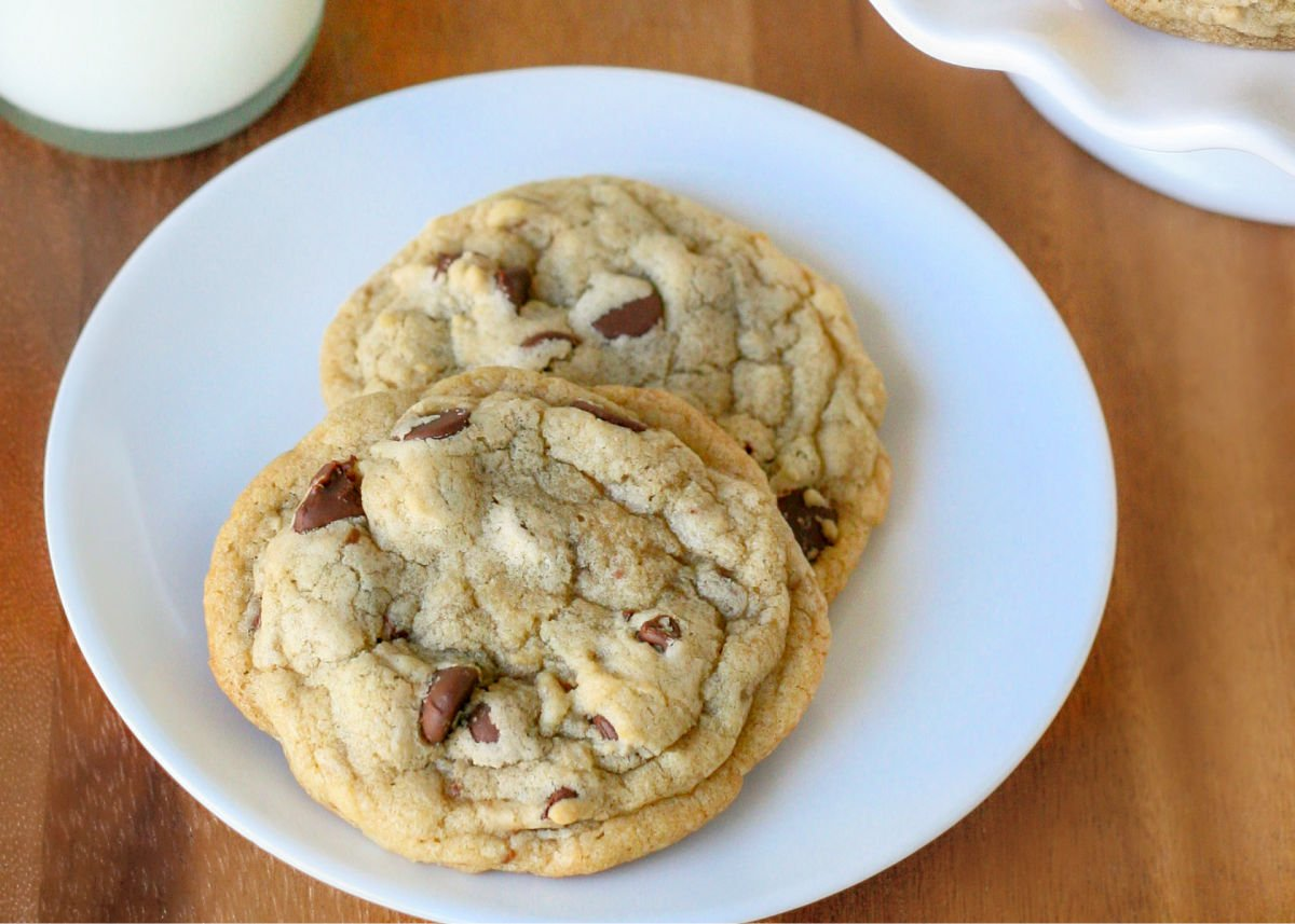 two chocolate chip cookies on white plate on wood surface