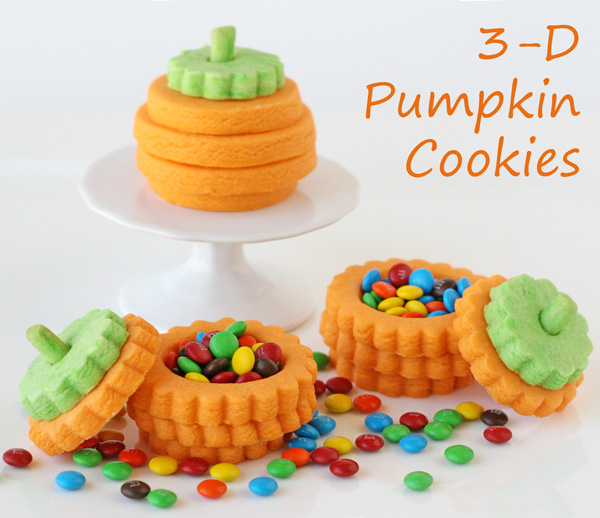 3D Pumpkin Cookies (with a surprise inside!) - by Glorious Treats