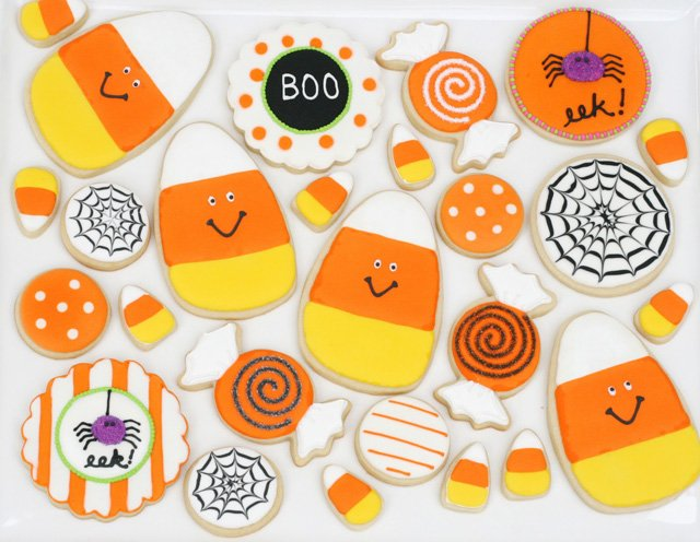 Cute Candy Corn Halloween Decorated Cookies - by glorioustreats.com