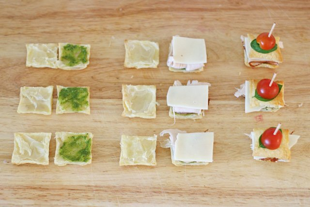 Assembling Turkey Pesto Appetizer Bites - glorioustreats.com