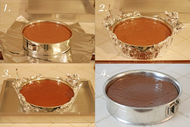 How to make a water bath for Cheesecake - from glorioustreats.com