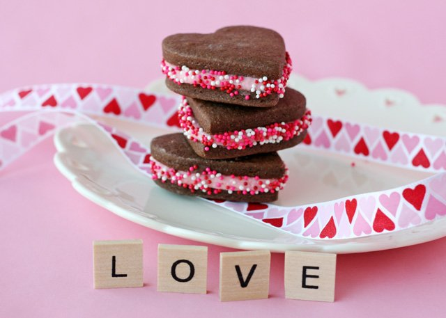 Chocolate Heart Sandwich Cookies - glorioustreats.com