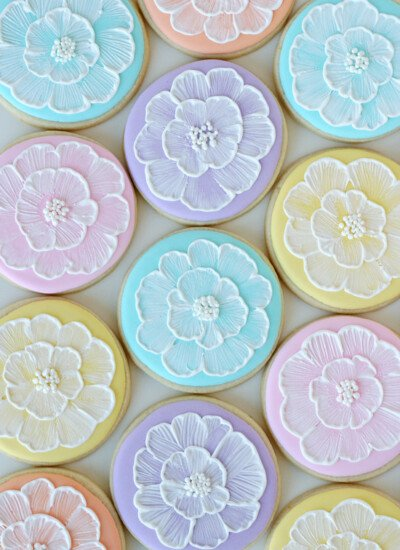 Pastel Brush Embroidery Cookies - glorioustreats.com