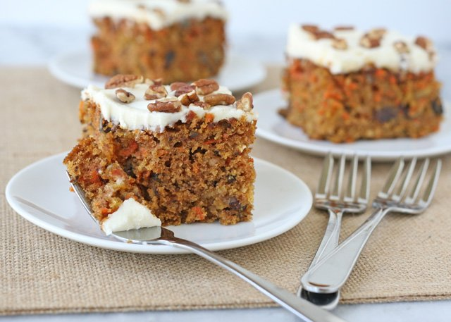 Moist, homemade and delicious! Carrot Cake Recipe - via GloriousTreats.com