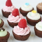 Brownie Bites with Homemade Frosting - via GloriousTreats.com
