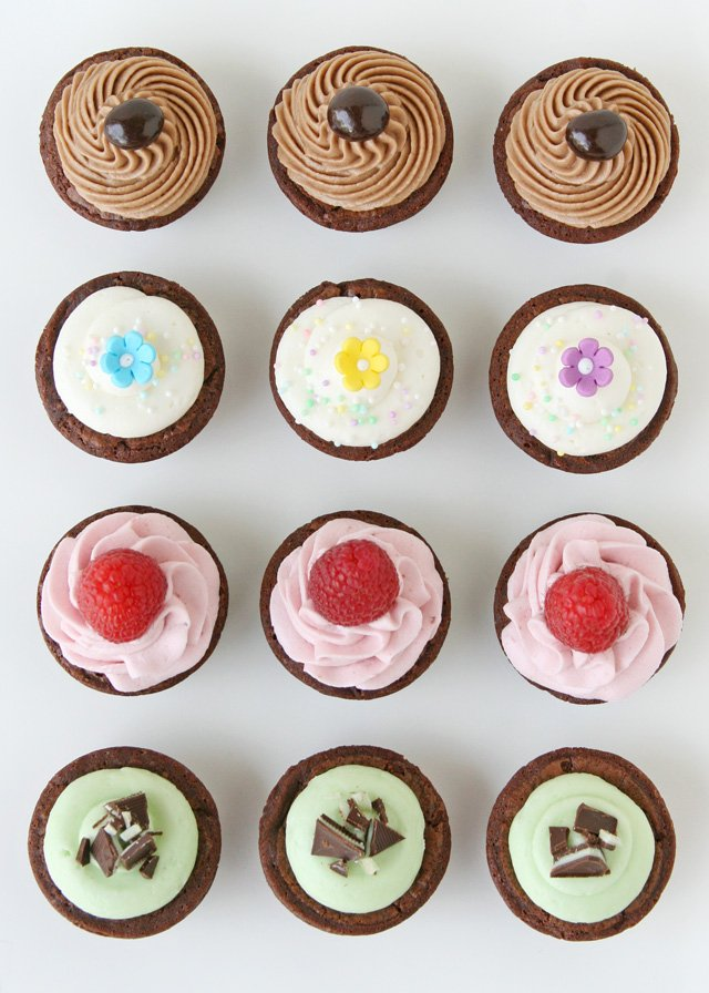 Delicious Homemade Frostings, perfect to dress up store bought brownie bites!! - GloriousTreats.com