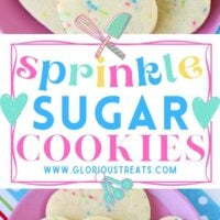 2 image sprinkle sugar cookie collage with heart shaped cookies sitting on pink plate with center color block and text overlay