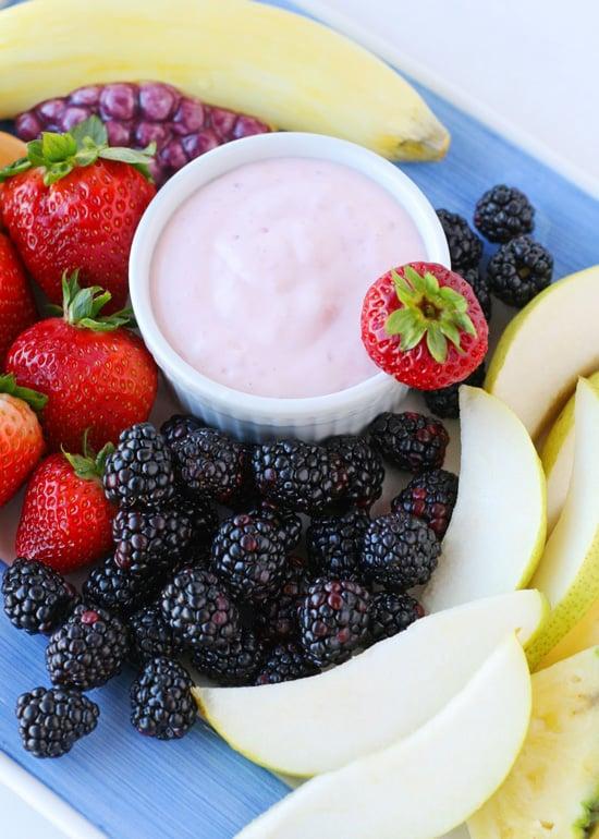 Strawberry Yogurt Fruit Dip - via GloriousTreats.com