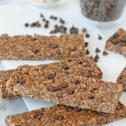 Easy, healthy and delicious!! Peanut Butter Chocolate Chip Granola Bars