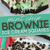 2 image collage of Mint Chip Brownie Ice Cream Squares Diagonal Pin Pinterest