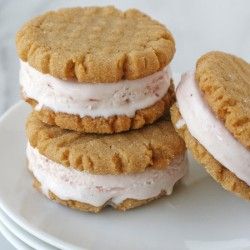 Peanut Butter Cookie & Strawberry Ice Cream Sandwiches