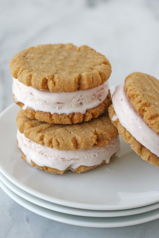 Peanut Butter Cookie & Strawberry Ice Cream Sandwiches