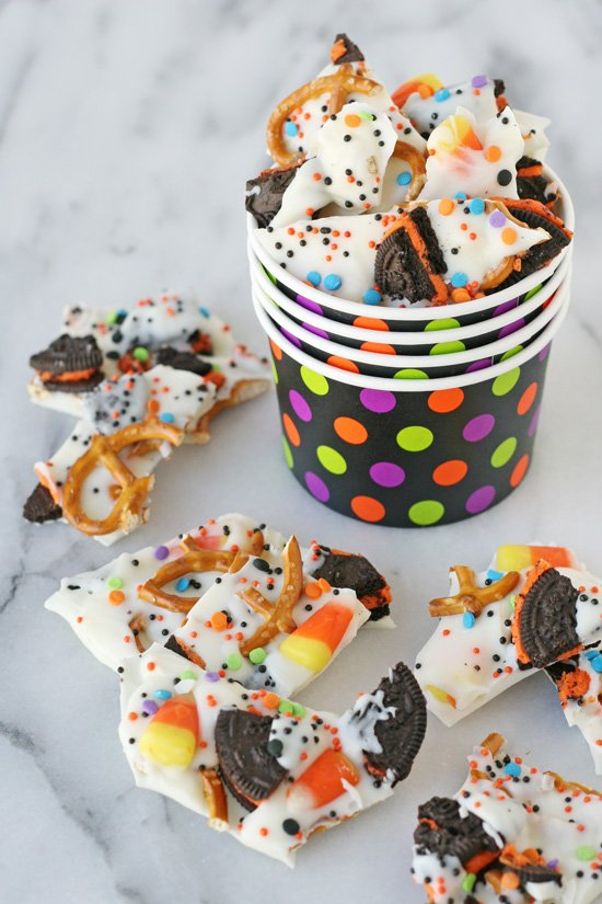 Halloween Candy Bark - This sweet and easy snack is perfect for any holiday!