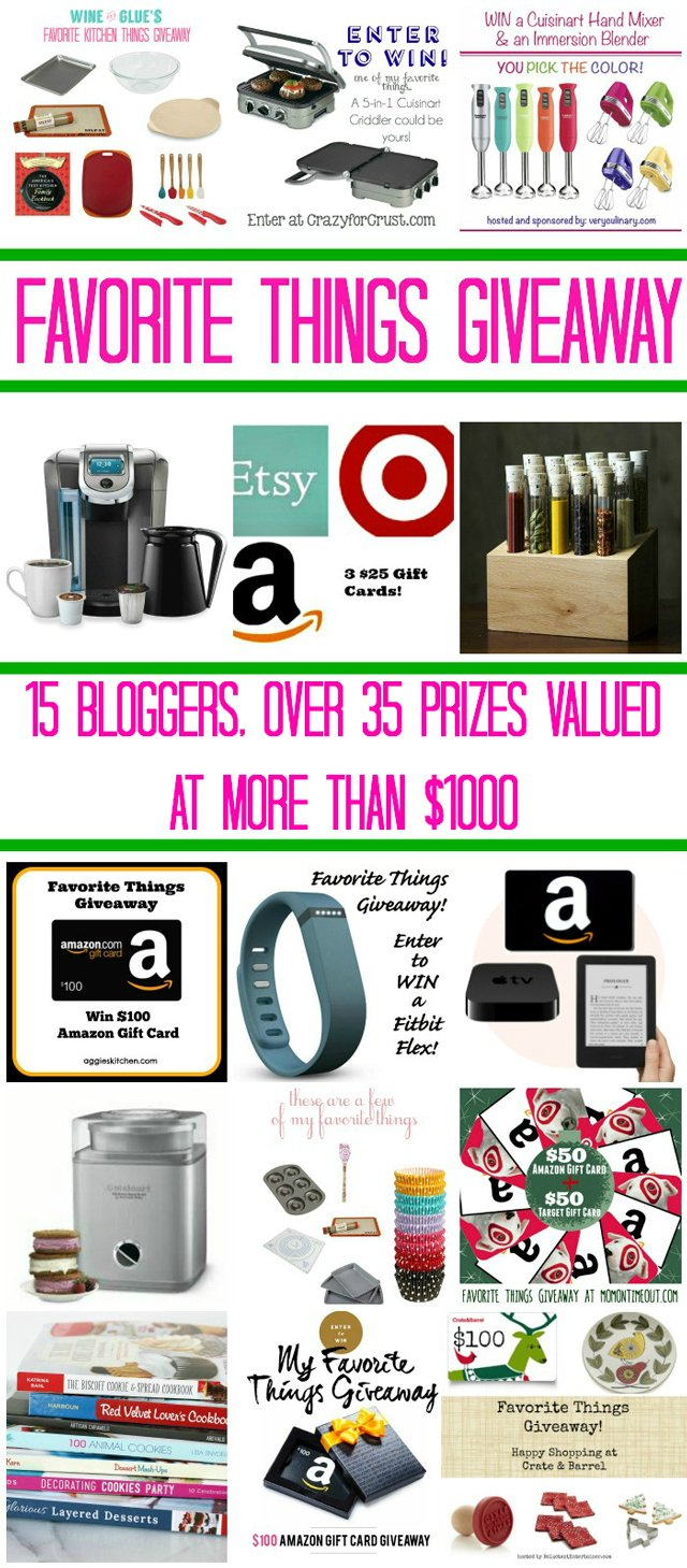 An amazing Favorite Things Giveaway hosted by 15 bloggers!