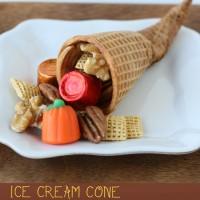Sugar Cone Cornucopia - Such a fun idea for Thanksgiving!