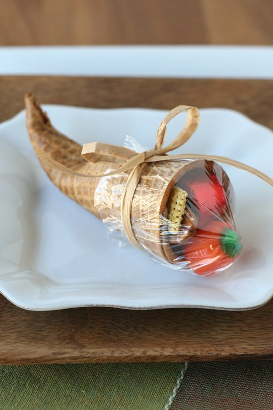 Ice Cream Cone Cornucopia - Such a fun idea for Thanksgiving!