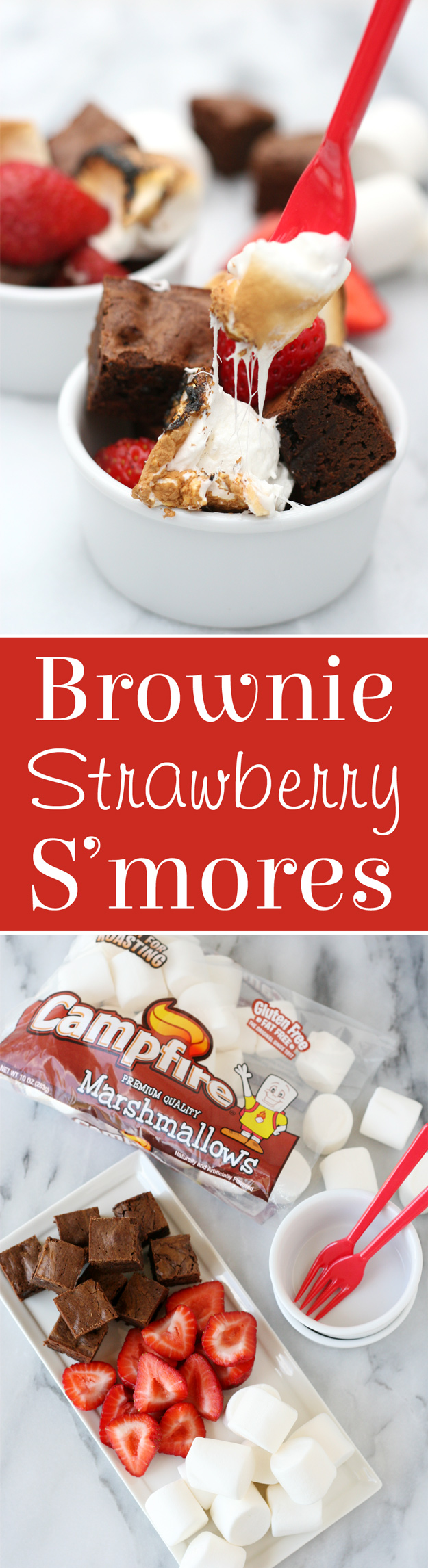 Brownie Strawberry S'mores | Create the best s'mores treat ever with fudge brownie bites, fresh strawberries and roasted marshmallows... YUM!