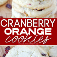 cranberry orange cookies in a 2 image collage with center color block top image shows cookies stacked and bottom image is a close up view