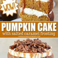 two image collage with pumpkin cake slice on top and whole cake on the bottom with text overlay in the center