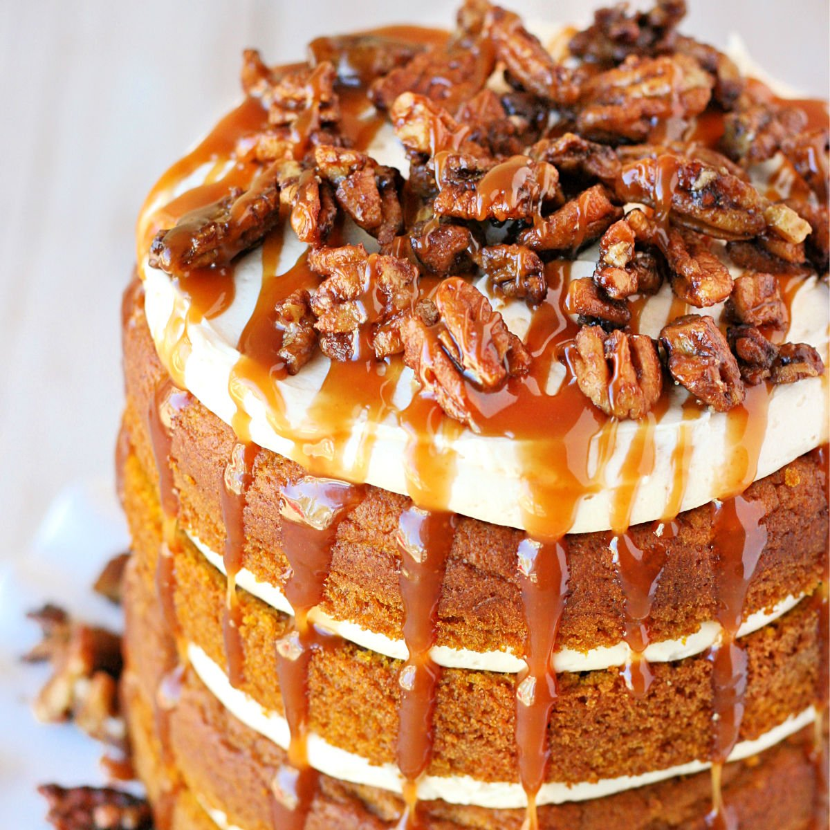 Pumpkin Cake With Salted Caramel Frosting Glorious Treats