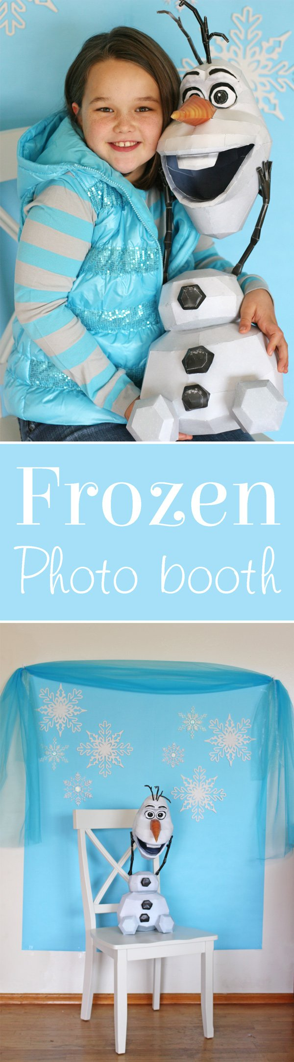 Photo backdrop ideas for a Frozen birthday party.  Perfect for any winter or Christmas theme too!