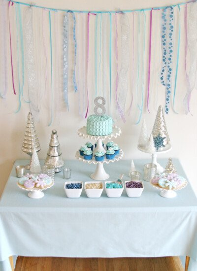 Gorgeous Frozen themed dessert table! Ideas and recipes perfect for any winter party!