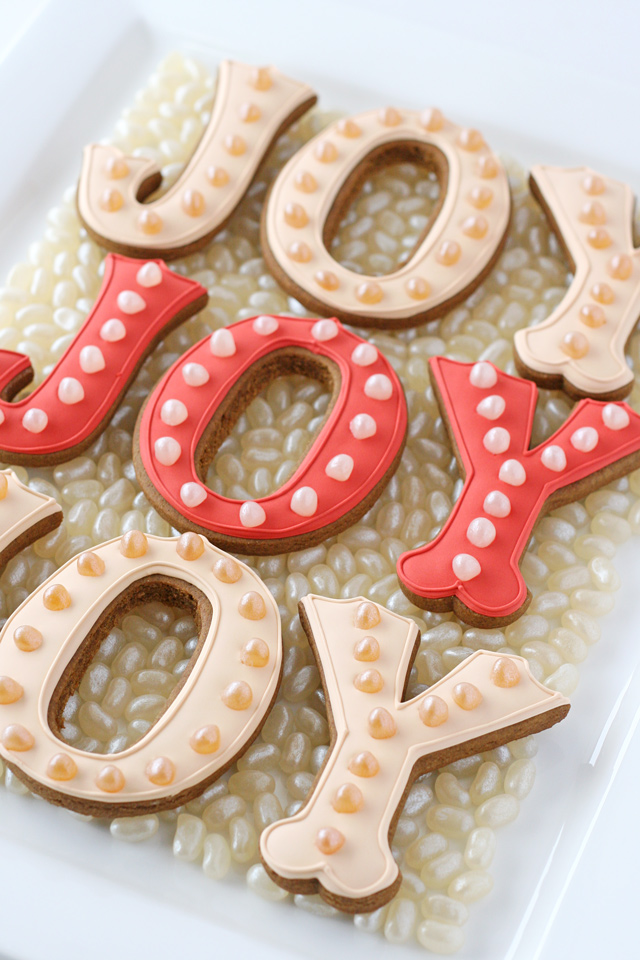 JOY Marquee Decorated Cookies - A simple, modern and fun design!
