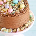 This pretty pastel Chocolate Malt Cake is perfect for spring!