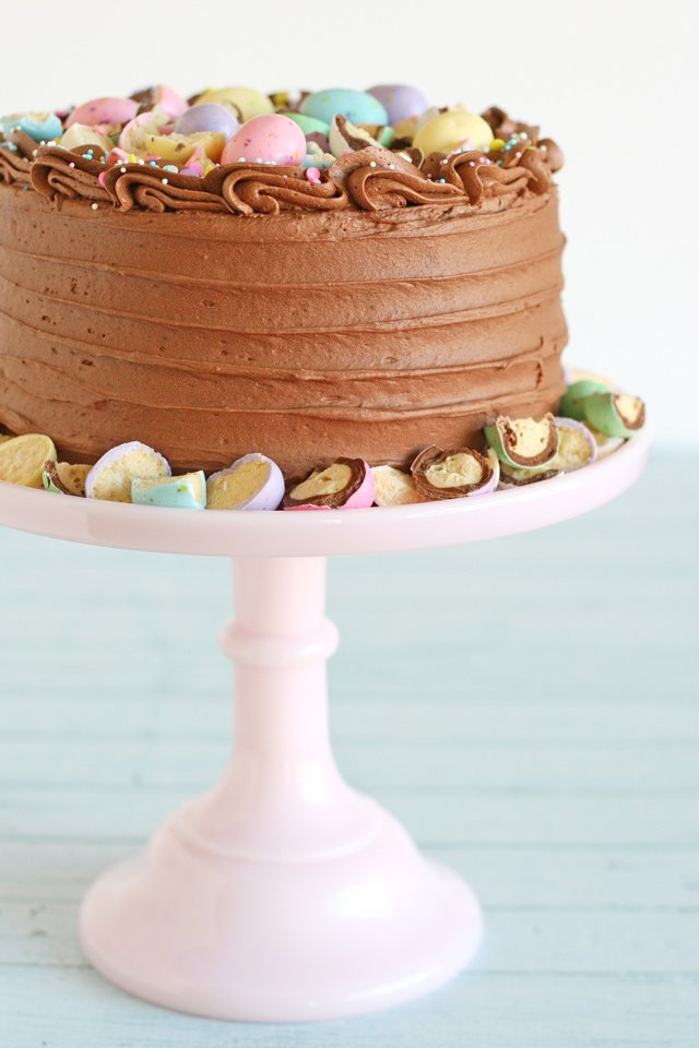 This delicious Chocolate Malt Cake is so perfect for Spring!