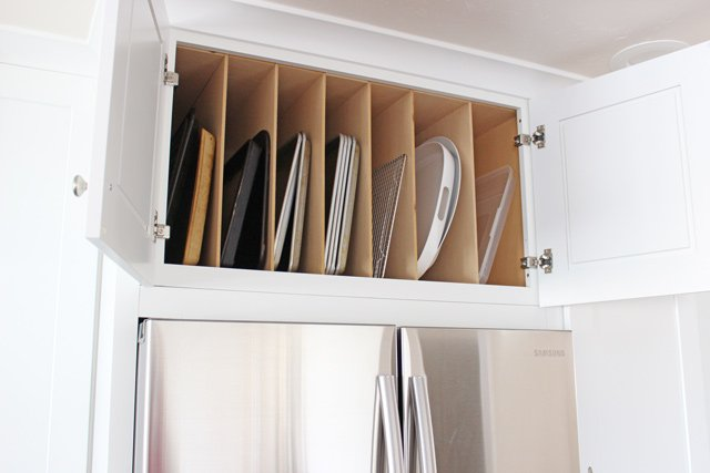LOVE this idea for storing baking sheets and large platters!