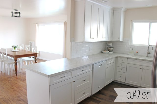 White Kitchen we love the all white kitchen trend this is a photo of whirlpools white ice Gorgeous White Kitchen Remodel Complete Before And After Photos Costs Remodeling Tips And
