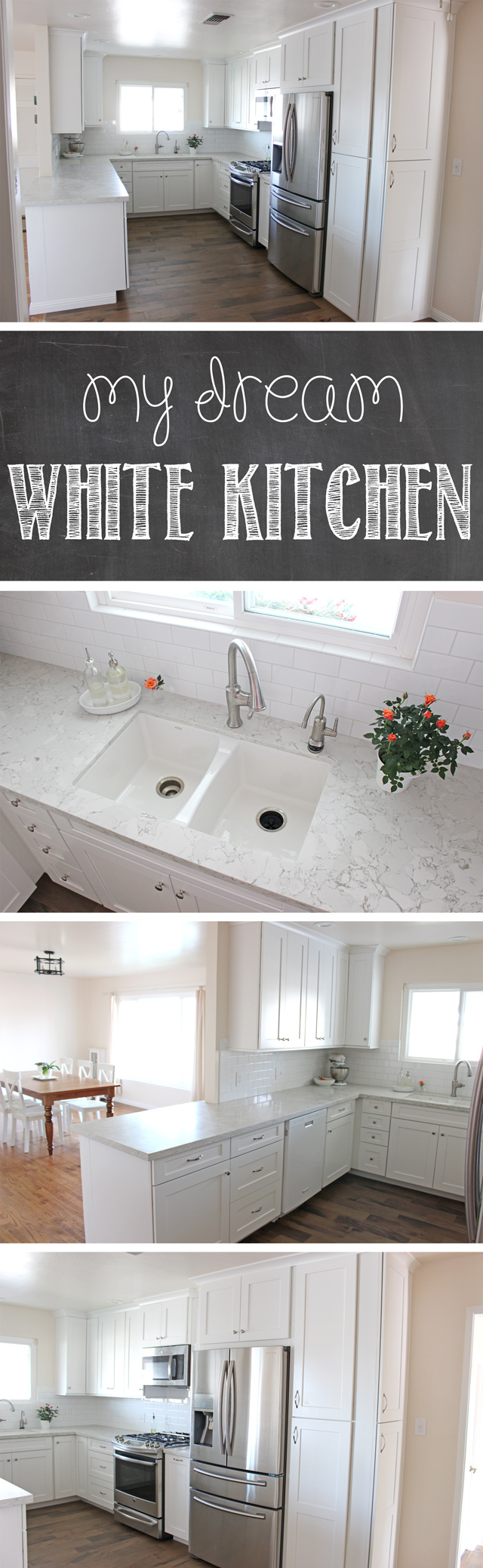 GORGEOUS White Kitchen Remodel - Lots of before and after photos, tips for remodeling, cost list and more!