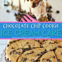chocolate chip cookie ice cream cake two image collage for pinterest