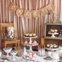 LOVE THIS!! Beautifully rustic and romantic VINTAGE WEDDING DESSERT TABLE!