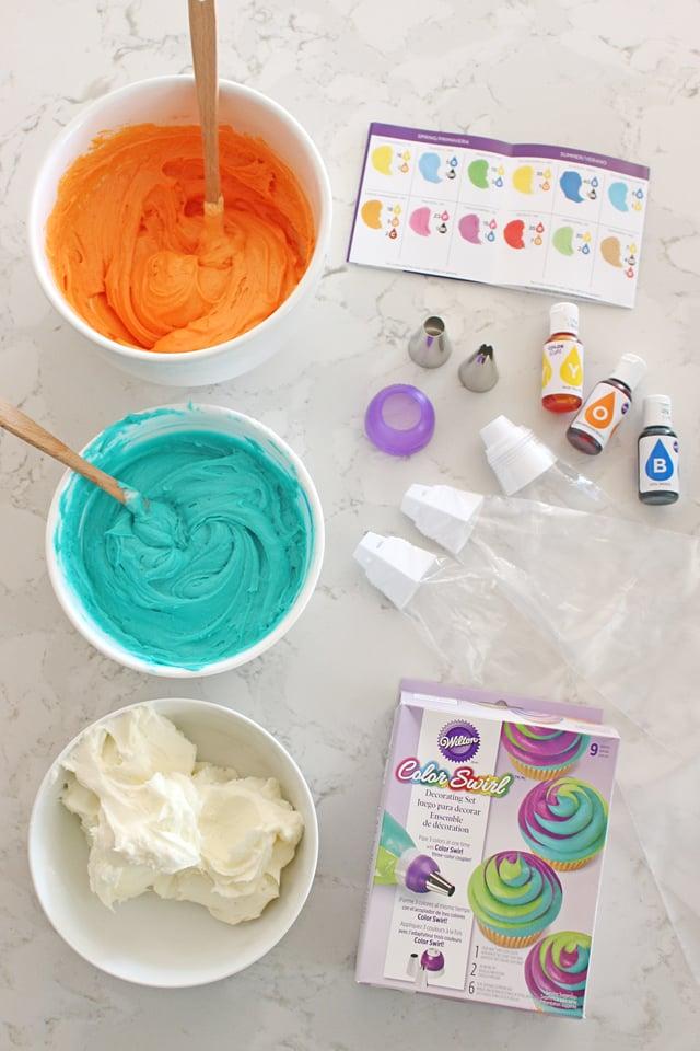 Easy technique for impressive tri-color cupcake frosting!