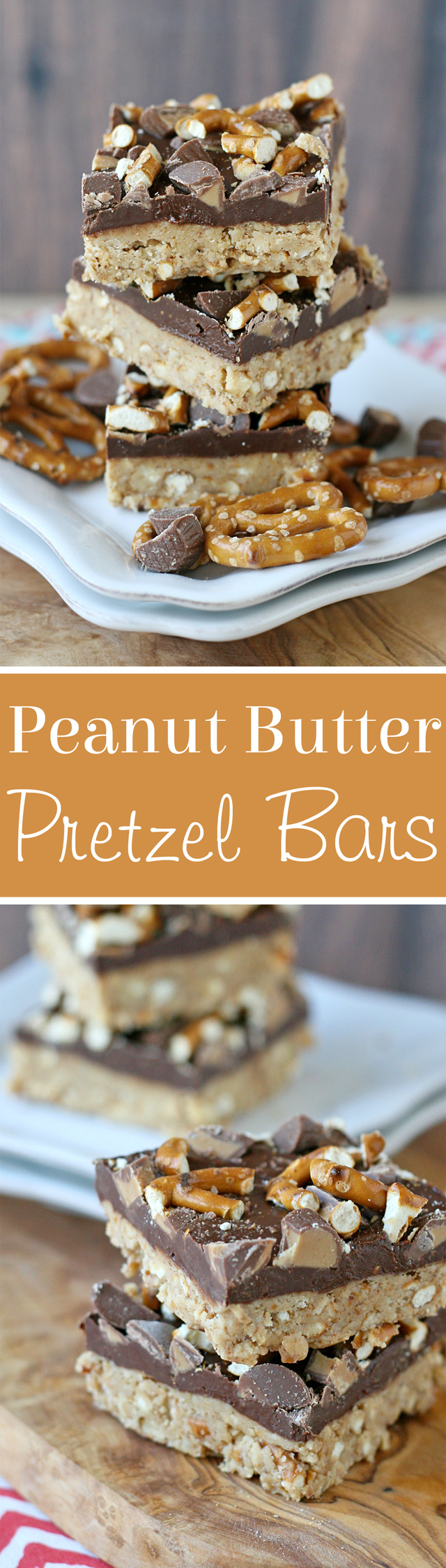 Easy & delicious NO-BAKE PEANUT BUTTER PRETZEL BARS!
