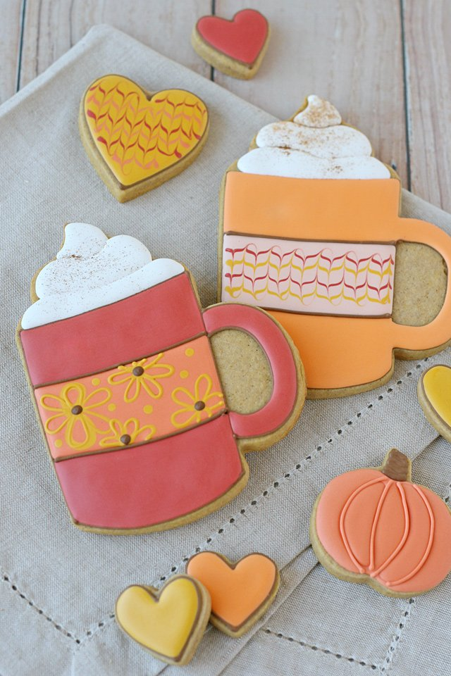 pumpkin spice mug cookies - Cookie Decorating