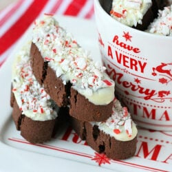 peppermint chocolate biscotti on white plate next to christmas mug