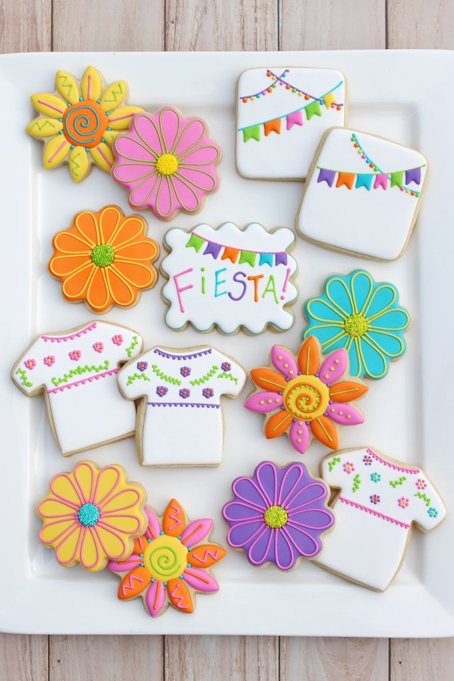 mexican fiesta decorated cookies - Cookie Decorating