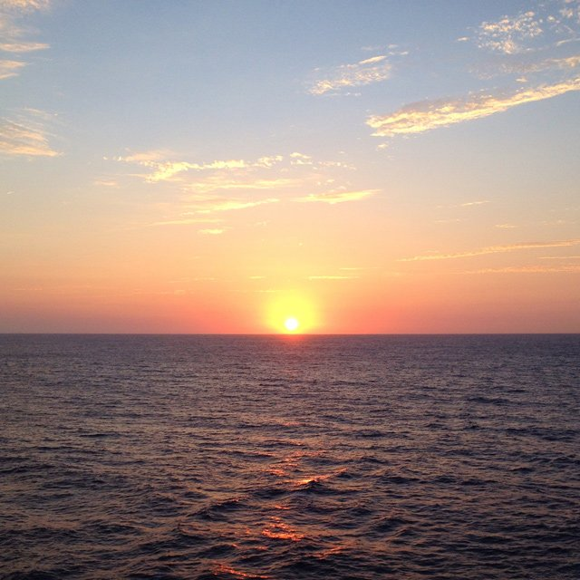 Sunset view from a Princess Cruise