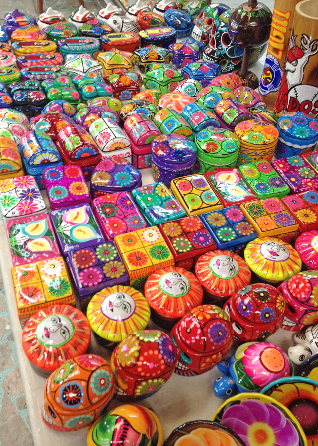 Colorful Mexican Trinket Boxes in Mazatlan Mexico