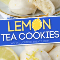 lemon tea cookies 2 image pinterest collage with text overlay
