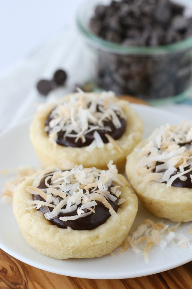 Coconut Sugar Cookie Cups with Fudge Filling... YUM!