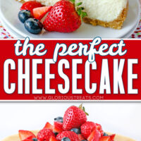 two image collage of slice of cheesecake and whole cheesecake topped with berries. center color block and text overlay.