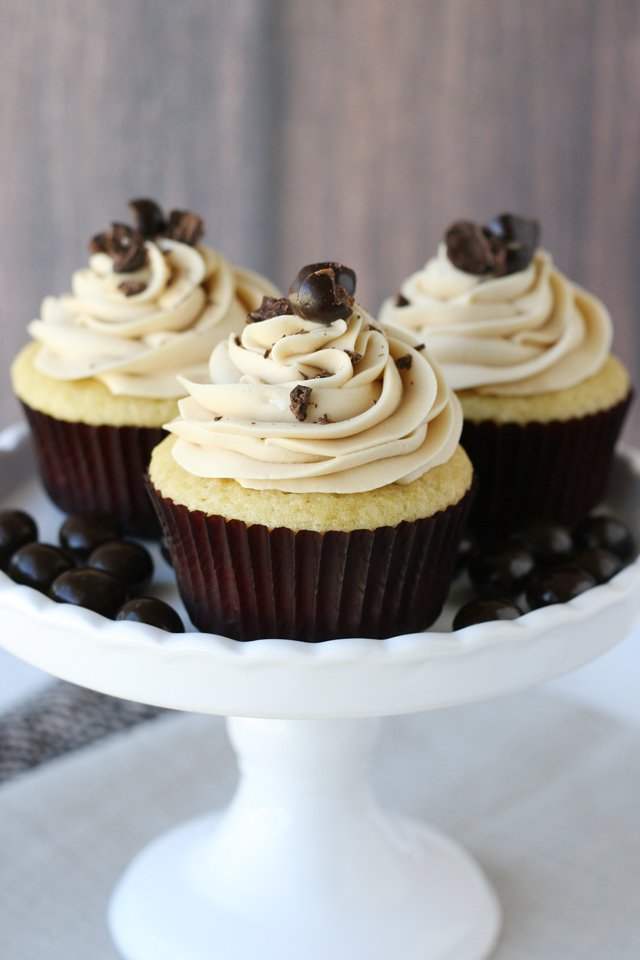 The best Vanilla Cupcakes with Coffee Buttercream!