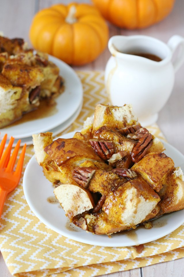Delicious make-ahead breakfast! Pumpkin Baked French Toast