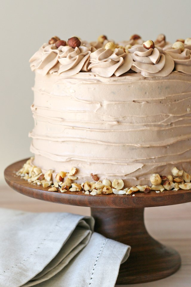 Rich Chocolate Cake with a Whipped Hazelnut Spread Frosting... YUM!