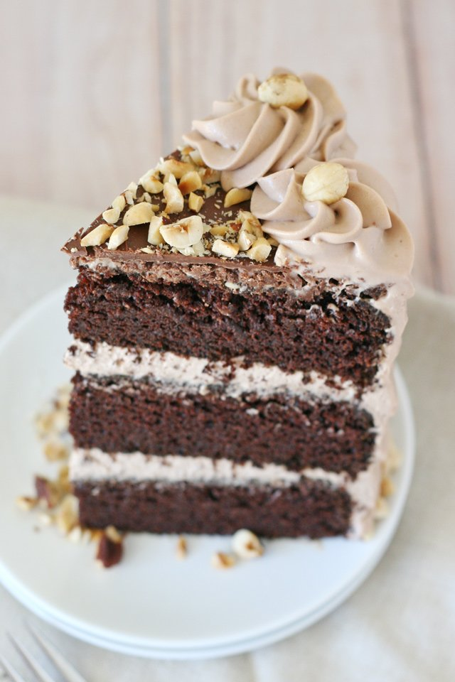 Chocolate Cake with Whipped Nutella Frosting