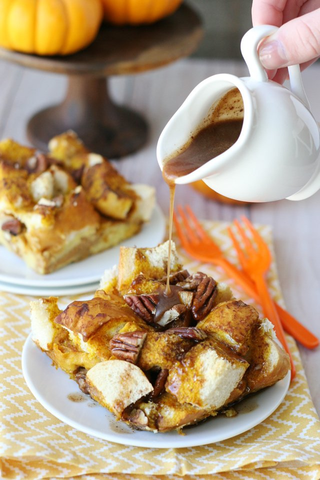 The perfect fall breakfast or brunch! Baked Pumpkin French Toast Casserole Recipe