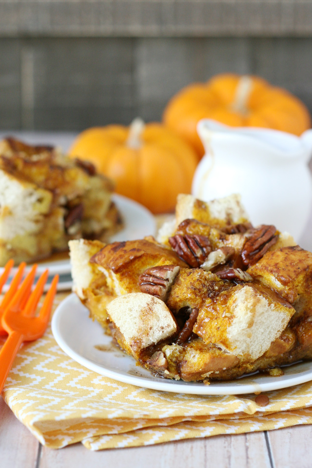 This BAKED PUMPKIN FRENCH TOAST is simply the perfect fall brunch treat!